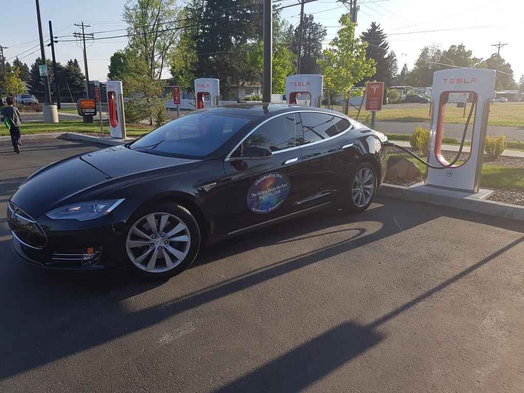 Locke family's Model S at a SuperCharger