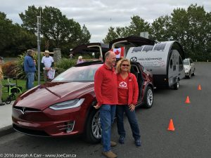 Silke & Rolf in front of their Model X and trailer at Mile Zero