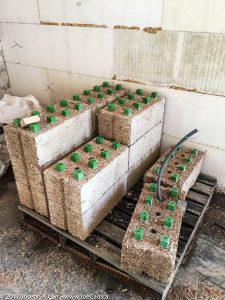 Hemp and lime blocks with structural frame interlocks and conduit