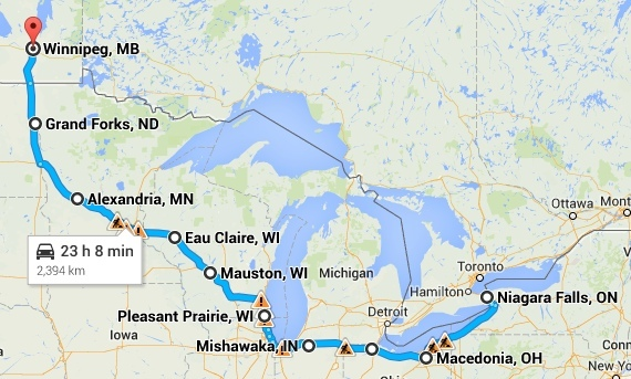 Great Lakes USA route
