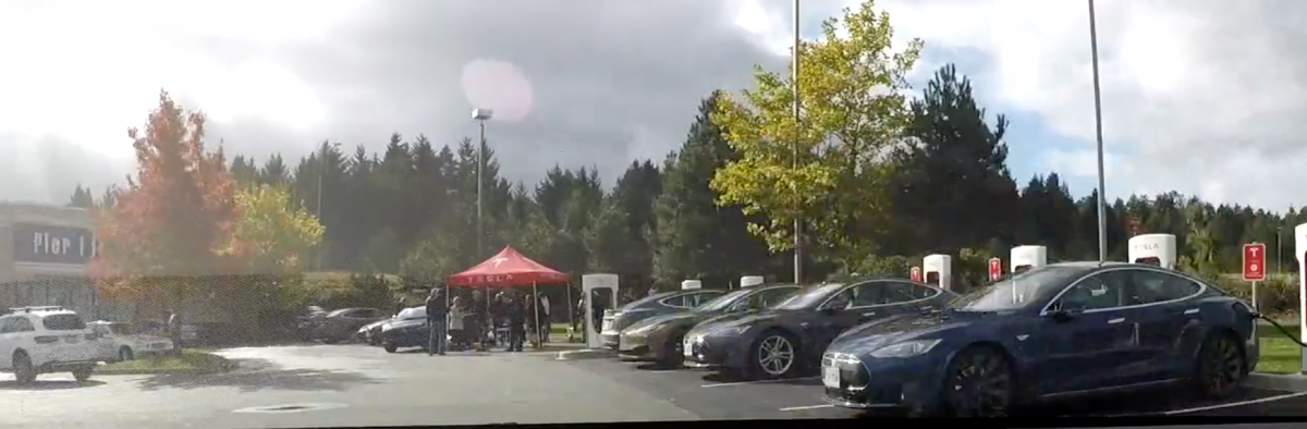 Convoy to Tesla event at Nanaimo Supercharger