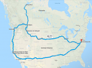 Map of 22,000km road trip